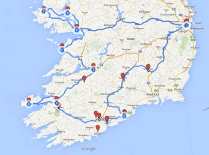 Ireland Driving Route