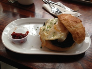 Egg and mushroom breakfast sandwich with rhubarb jam Farmgate Restaurant, English Market, Cork