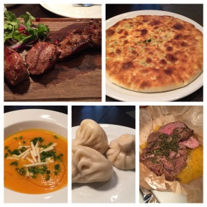 From top left, clockwise: Lamb kebabs, khachipuri (cheesy bread), batumi-style beef baked with Georgian condari spices, potato and cheese dumplings, pumpkin soup Khachipuri Restaurant Moscow, Russia
