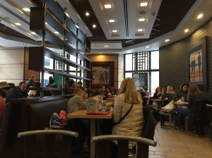 Classy McDonalds in St. P, with wall art St. Petersburg, Russia