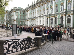 The line to get into the Hermitage St. Petersburg, Russia
