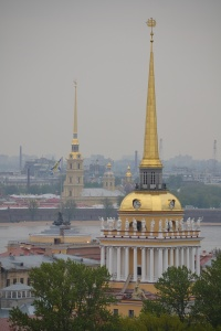The view of spires from the top of St. Isaac's Cathedral St. Petersburg, Russia