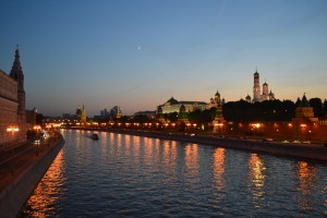 The Moscow River with the Kremlin in the background Moscow, Russia