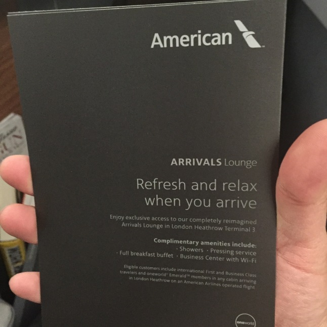 American Airlines Arrivals Lounge Entry Pass