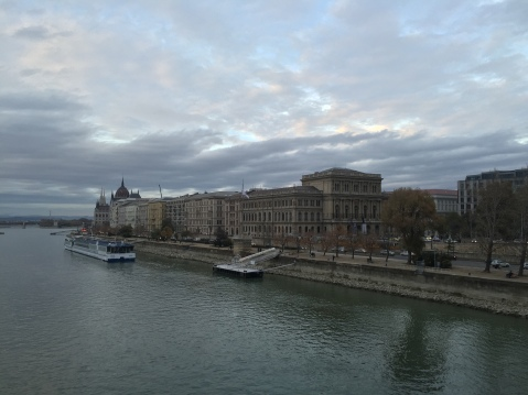 The Pest side of Budapest, as seen from the Chain Bridge