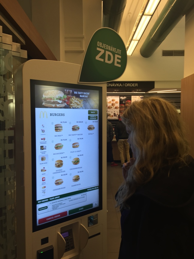 High tech ordering machines have reached Prague's McDonalds