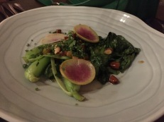 Grilled bok choy amandine (brown butter sauce and toasted almonds) The Pig and the Lady
