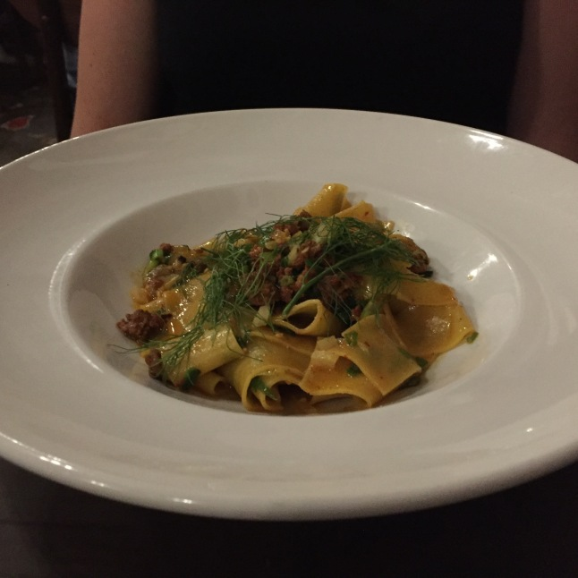 Seafood and Chorizo Pasta (pappardelle) The Pig and the Lady