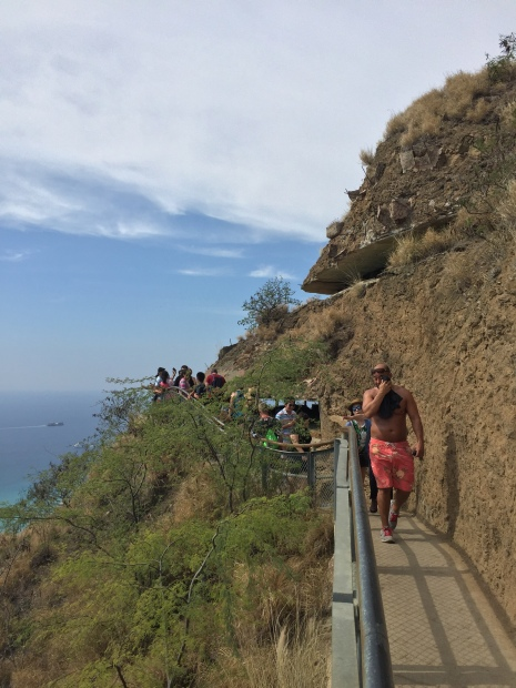 The lookout near the top of Diamond Head