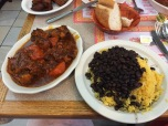 beef stew and yellow rice/beans