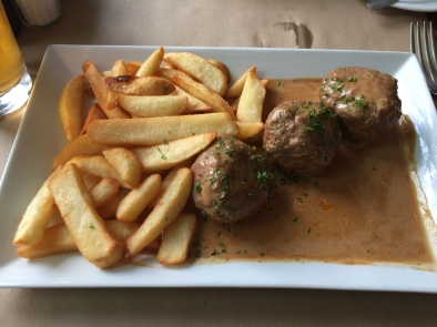 Lamb meatballs and fries