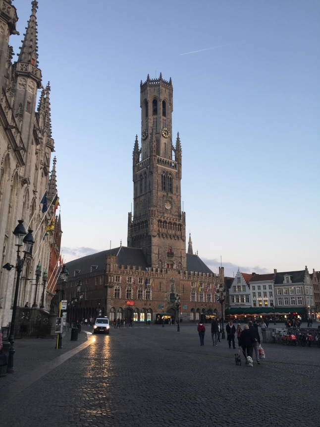 The view from the Markt at 9:30 PM