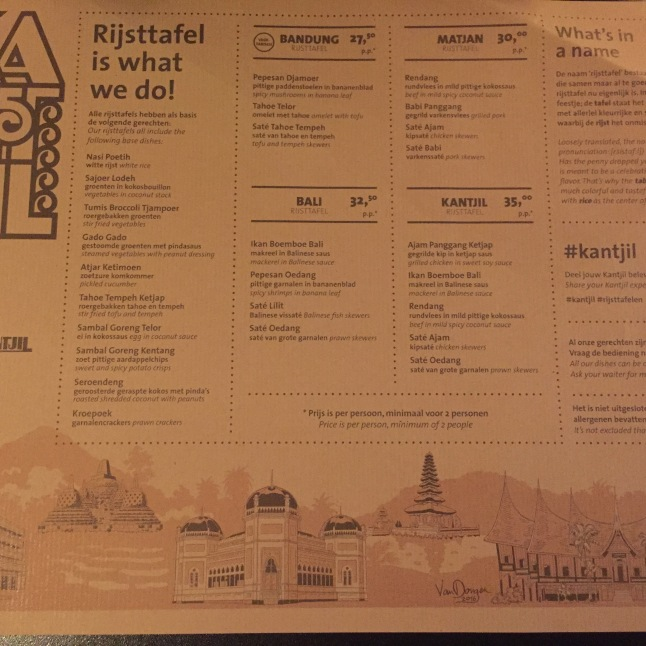The menu at Kantjil & de Tijger