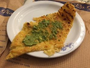 Farinata with some pesto