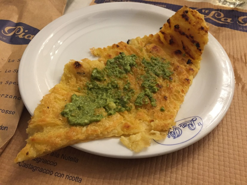 Farinata with some pesto