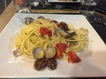 Tasty pasta with seafood