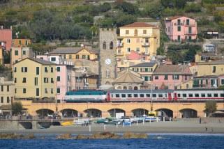 The Tren Italia train passing through Monterosso