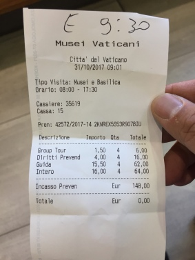 The cost of a tour done straight through the Vatican