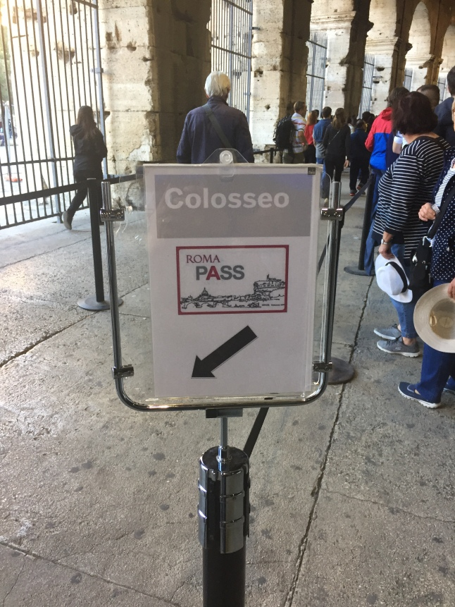 There are dedicated Roma Pass lines inside the Colosseum