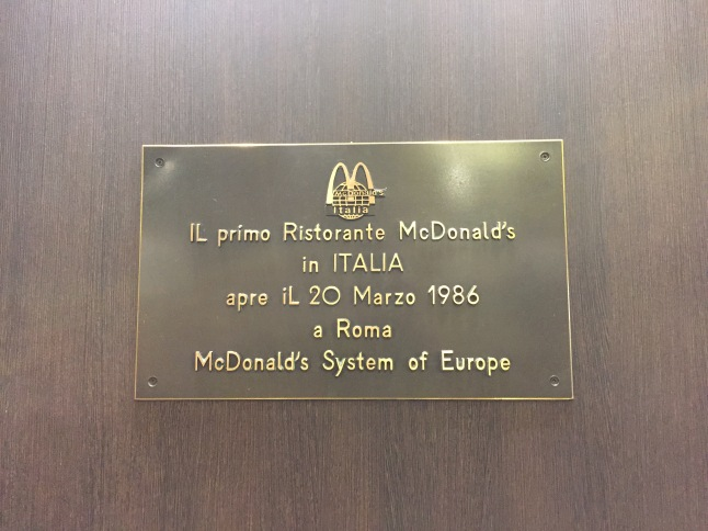 This is the first McDonald's in Italy