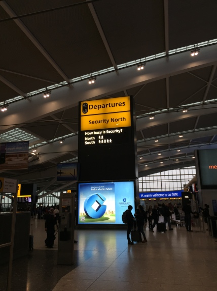 A smart feature at Heathrow - a real-time board of how busy each security checkpoint is