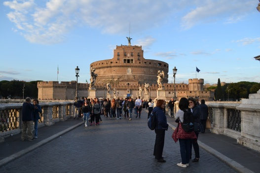 Crossing the river Tiber at the Castel Sant'Angelo
