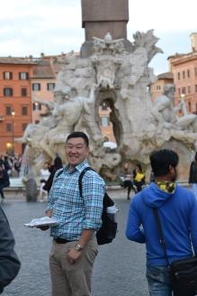 Enjoying the sights of Piazza Navona