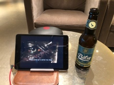 Watching TV and drinking beer