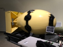 """A replica of the """"Fat Man"""" bomb - the larger of the two nuclear weapons dropped on Japan"""