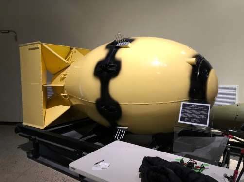 "A replica of the ""Fat Man"" bomb - the larger of the two nuclear weapons dropped on Japan"