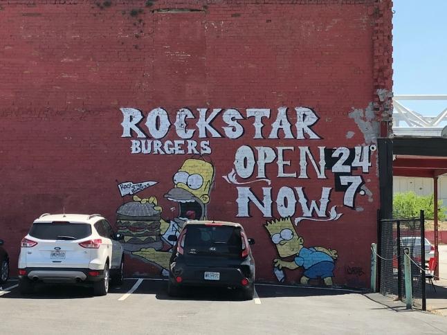 Graffiti signage for a neighborhood eatery