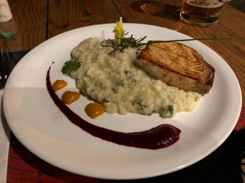 A risotto served with fish