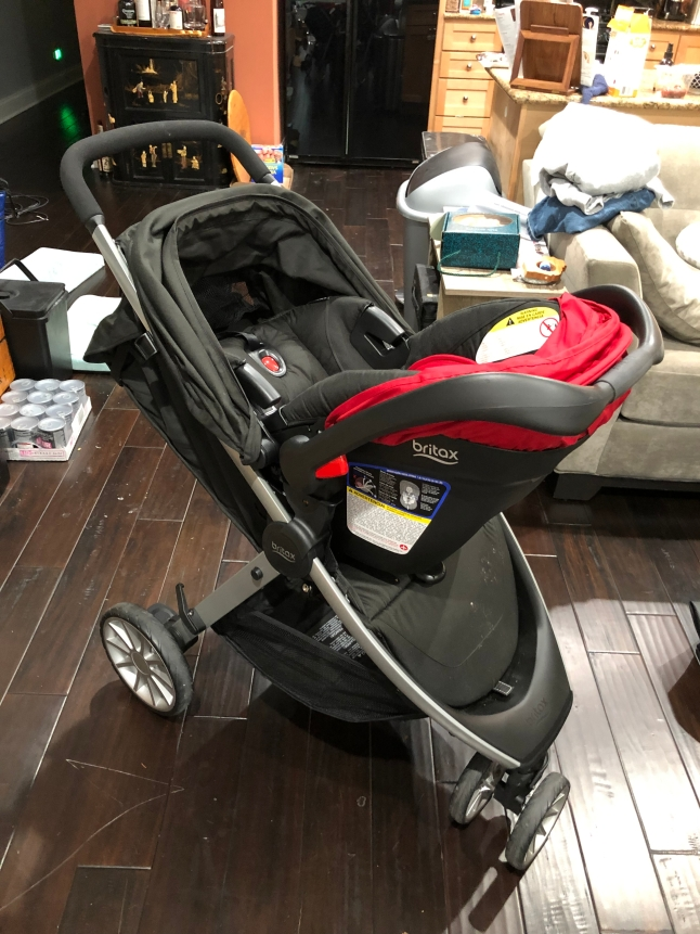 The Britax B-Lively Lightweight Stroller with the Britax B-Safe 35 Infant Car Seat attached
